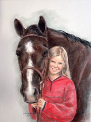 Pastel Portrait Horse Charlotte and JR