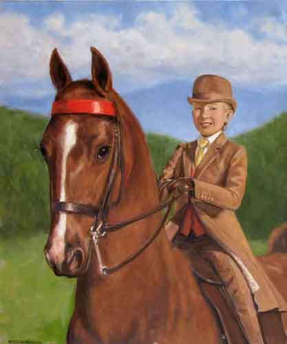 Saddlebred Horse Portrait oil on canvas 20 x 24 by M. Theresa Brown