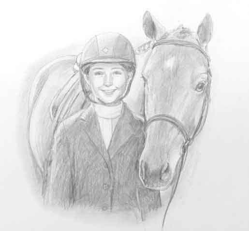 pencil portrait girl and horse